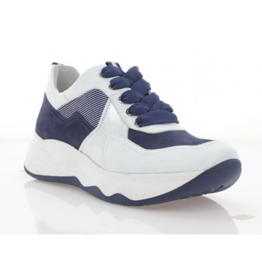 Кросівки жіночі сині/білі,  шкіра/нубук (3263 біл. Шк+сн. Нб) Roma style