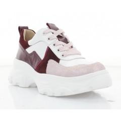 Кроссовки женские белые/розовые/бордовые, кожа/замша/лакированная кожа (3263 біл. Шк_борд) Roma style