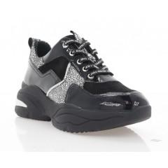 Кросівки жіночі чорні/срібні, замш/лакована шкіра (3263 чн. Лк_срібн) Roma style