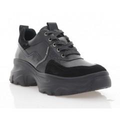 Кросівки жіночі чорні, шкіра/замш/лакована шкіра (3263 чн. Шк) Roma style