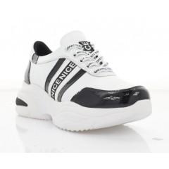 Кросівки жіночі білі/чорні, шкіра/лакована шкіра (3266 біл. Шк_чорн) Roma style