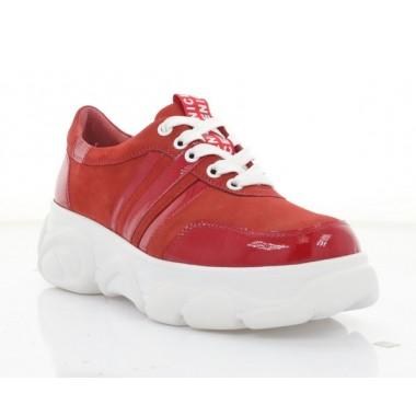 Купити Кросівки жіночі червоні/білі, нубук/лакована шкіра (3266 черв. Нб+Лк) Roma style за найкращими цінами