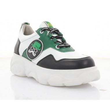 Купити Кросівки жіночі білі/чорні/зелені, шкіра (3267 біл. Шк_зел/чорн) Roma style за найкращими цінами