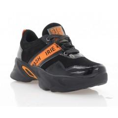 Кросівки жіночі чорні/оранжеві, лакована шкіра/замш (3267 чн. Зш+Лк_оранж) Roma style