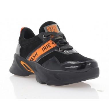Кроссовки женские черные/оранжевые, лакированная кожа/замша (3267 чн. Зш+Лк_оранж) Roma style