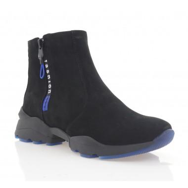 Ботинки женские черные, нубук (3272 чн. Нб (шерсть)) Roma style
