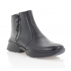 Ботинки женские черные, кожа (3272 чн. Шк (шерсть)) Roma style