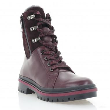 Ботинки женские бордовые, кожа (3273 бордо. Шк (шерсть)) Roma style