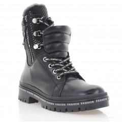 Ботинки женские черные, кожа (3273 чн. Шк (шерсть)) Roma style