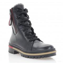 Ботинки женские черные, кожа 3273 чн. Шк_черв.(шерсть)) Roma style