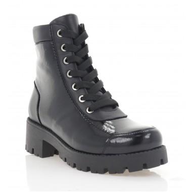 Ботинки женские черные, кожа/лакированная кожа (3274 чн. Лк (байка)) Roma style