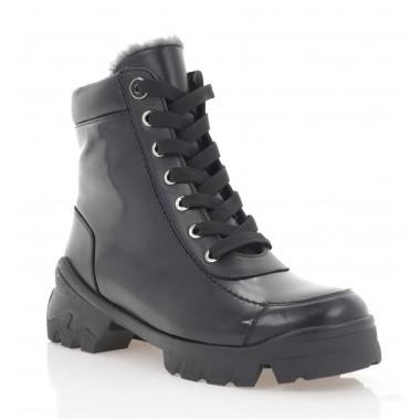 Ботинки женские черные, кожа/лакированная кожа (3274 чн. Шк+Лк (шерсть)) Roma style