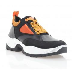 Кроссовки женские белые/черные/оранжевые, кожа/нубук (3275 чн/оранж Шк+Нб) Roma style