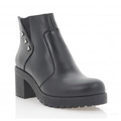 Ботинки женские черные, кожа (3277 чн. Шк (шерсть)) Roma style