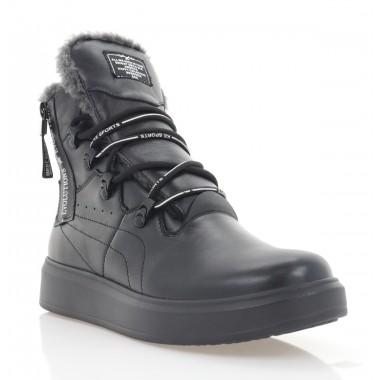 Ботинки женские черные, кожа (3278 чн. Шк (шерсть)) Roma style