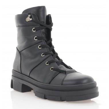 Ботинки женские черные, кожа (3282 чн. Шк (байка)) Roma style