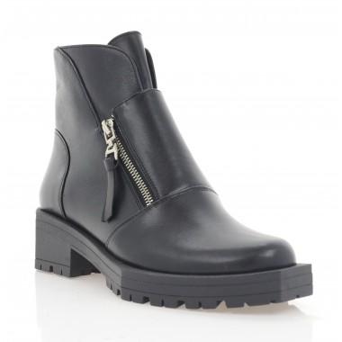 Ботинки женские черные, кожа (3283 чн. Шк (байка)) Roma style
