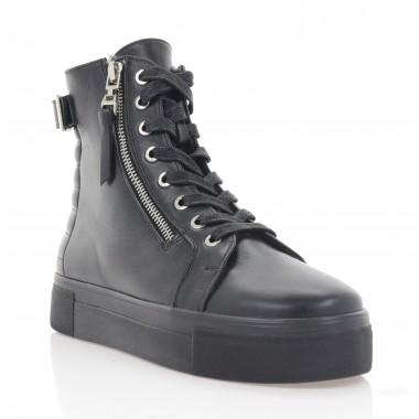 Ботинки женские черные, кожа (3284 чн. Шк (шерсть)) Roma style