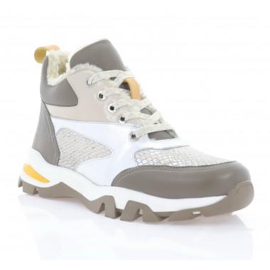 Ботинки женские бежевые/серебряные, кожа (3285 беж. Шк (шерсть)) Roma style