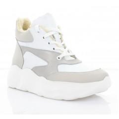Ботинки женские белые/серые, кожа (3285 біл. Шк (шерсть)) Roma style) Roma style