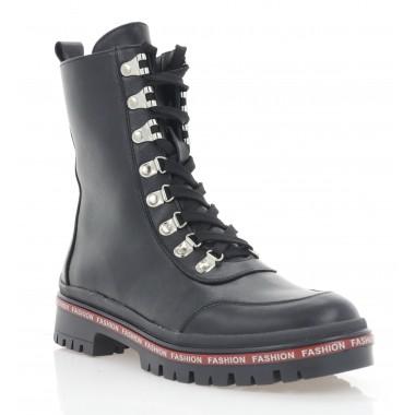 Ботинки женские черные, кожа (3286 чн. Шк (шерсть)) Roma style
