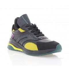 Кросівки жіночі чорні/жовті, шкіра (3293 чн. Шк_жовт) Roma style