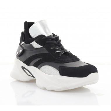 Кросівки жіночі чорні/срібні, шкіра/замш (3293 чн. Зш) Roma style