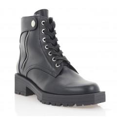 Ботинки женские черные, кожа (3294 чн. Шк (шерсть)) Roma style