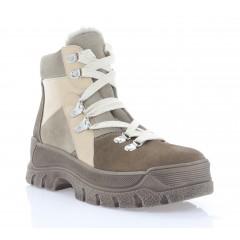 Ботинки женские бежевые/коричневые, замша (3295 беж. Зш (шерсть)) Roma style
