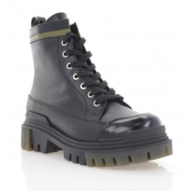 Ботинки женские черные, кожа (3298 чн. Шк (байка)) Roma style