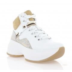 Ботинки женские белые/бежевые, кожа (3301 біл. Шк (байка)) Roma style