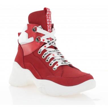 Кроссовки женские красные, нубук (3302 черв. Нб (байка)) Roma style