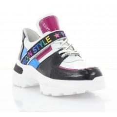 Кроссовки женские белые/черные/розовые/голубые, кожа (3303 біл. Шк_рож) Roma style