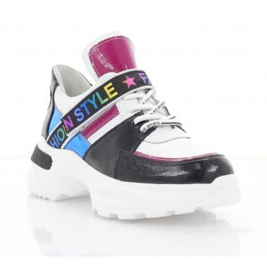 Купити Кросівки жіночі білі/чорні/рожеві/голубі, шкіра (3303 біл. Шк_рож) Roma style за найкращими цінами