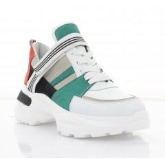 Кросівки жіночі білі/зелені/оранжеві/чорні, шкіра/нубук (3303 біл. Шк_зел) Roma style