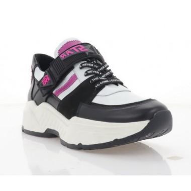 Кроссовки женские белые/черные/розовые, нубук/кожа (3303 чн. Нб+рож. Шк) Roma style