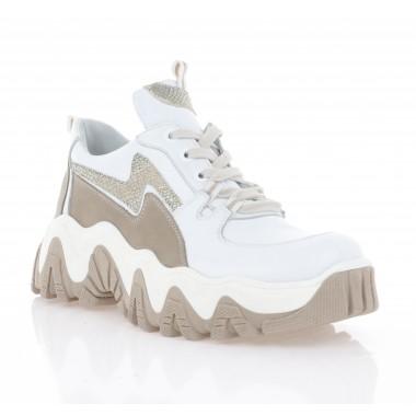 Купити Кросівки жіночі білі/капучіно, шкіра (3304 біл. Шк) Roma style  за найкращими цінами