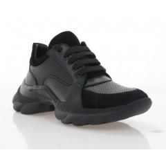 Кросівки жіночі чорні,  шкіра/замш (3307 чн. Шк) Roma style