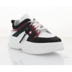 Кросівки жіночі білі/чорні/червоні, шкіра (3313 біл+черв. Шк) Roma style