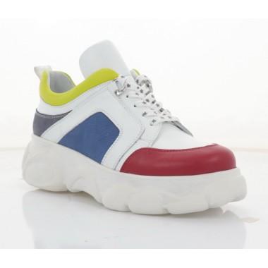 Кроссовки женские белые/желтые/красные/синие, кожа (3313 біл/черв/жовт Шк) Roma style