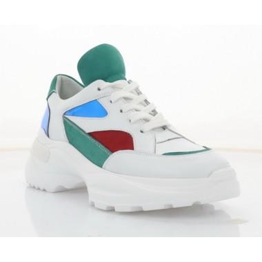 Кросівки жіночі білі/зелені/червоні/сині, шкіра (3314 біл/черв/зел Шк) Roma style
