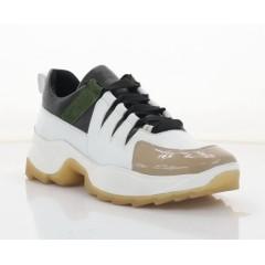 Кросівки жіночі білі/бежеві/чорні, шкіра (3316 біл.Шк+беж) Roma style