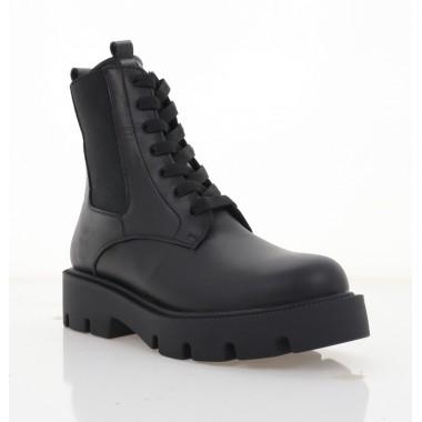 Ботинки женские черные, кожа (3334 чн. Шк (шерсть)) Roma style