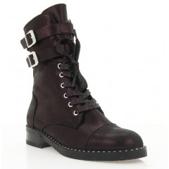 Ботинки женские фиолетовые, кожа (4003 фіол. Фл. (шерсть)) Roma style