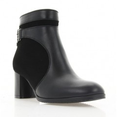Ботинки женские черные, кожа/велюр (4006 чн. Шк+Вл (байка)) Roma style