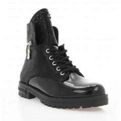 Ботинки женские черные, лакированная кожа (4014 чн. Лк (шерсть)) Roma style
