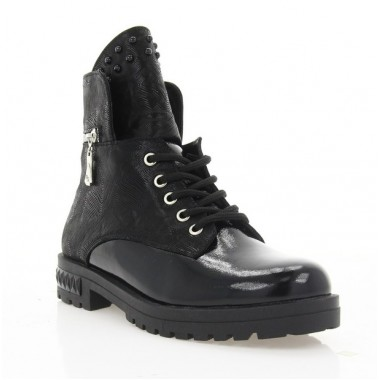 Купить Ботинки женские черные, лакированная кожа (4014 чн. Лк (шерсть)) Roma style по лучшим ценам