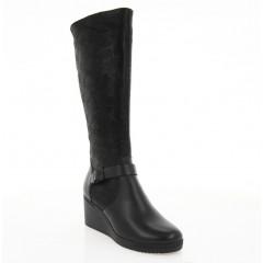 Сапоги женские черные, кожа/замша (4015 чн. Шк+Зш (шерсть)) Roma style