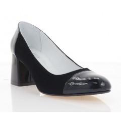 Туфли женские черные, велюр/лакированная кожа (4017 чн. Лк+Вл) Roma style