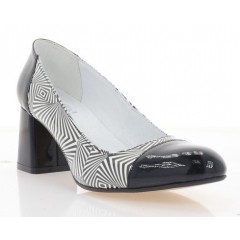 Туфлі жіночі чорні/білі, лакована шкіра  (4017 чн. Лк) Roma style
